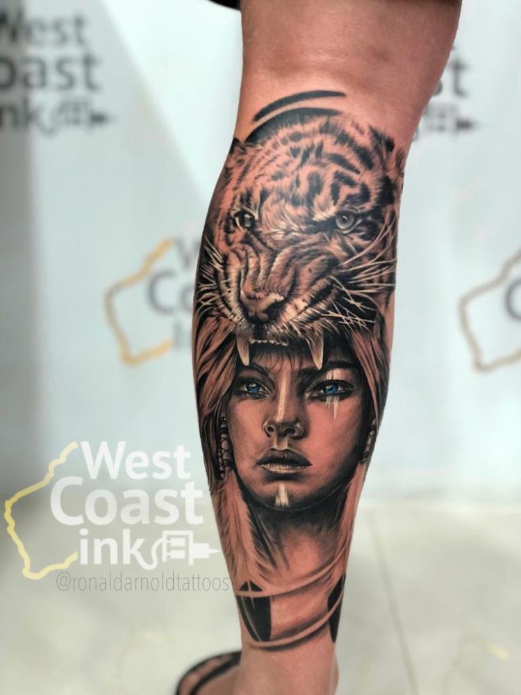 Bali Tattoo Portrait with Tiger Headdress