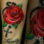 Red rose tattoo by Komeng Inked Bali