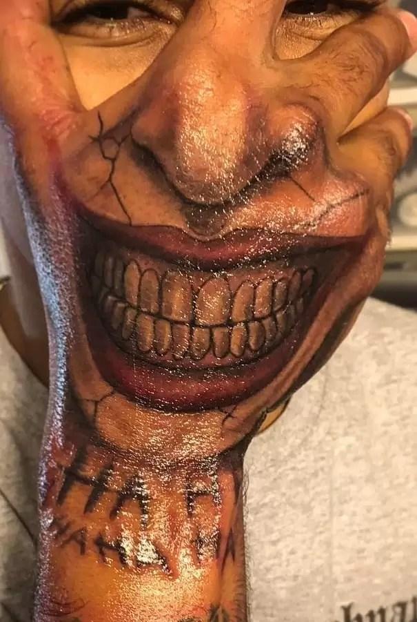 Hand Mouth Tattoo : mouth, tattoo, Joker, Tattoos:, Meanings,, Artists,, Tattoo, Designs, Ideas