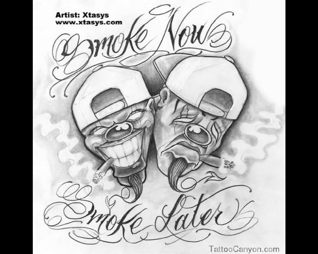 Adult Laugh Now Smile Later Coloring Page Tattoo Flash Chicano