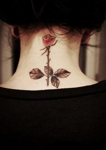 Cute Rose neck tattoo