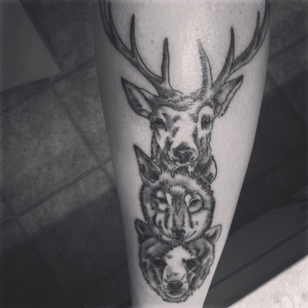 Deer Wolf Bear Tattoo