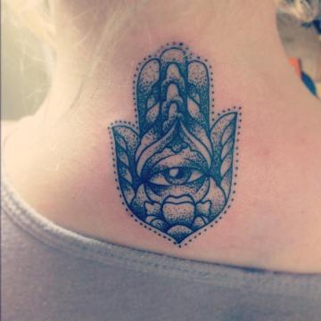 Hamsa neck tattoo