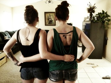 Bow And Arrow Sister Tattoo Idea