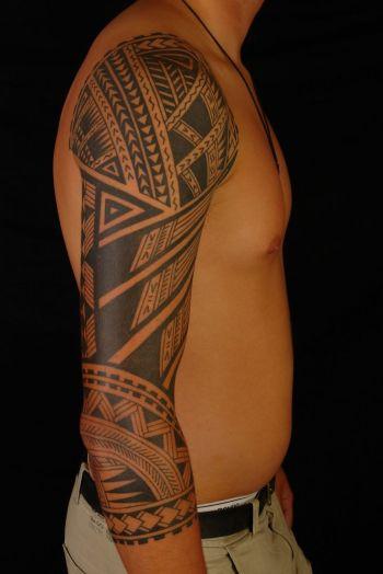 Polynesian Tribal Forearm Tattoos