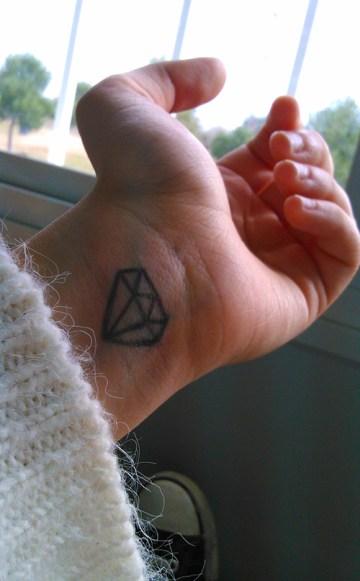 Little Diamond Tattoo On Wrist