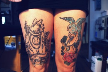 Cat And Bird Leg Tattoos