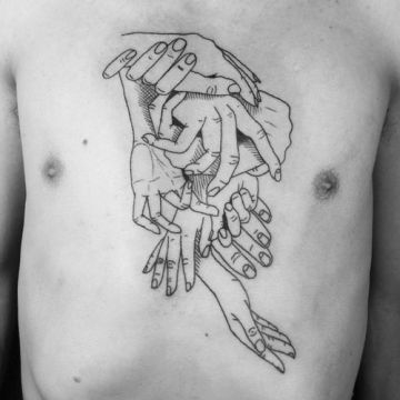 Intertwined Hands Chest Tattoo