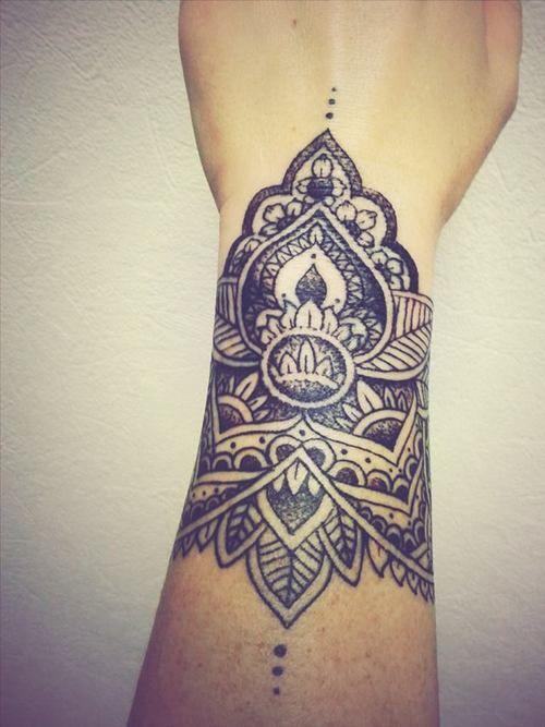 Front Wrist Tattoos : front, wrist, tattoos, Beautiful, Black, Mandala, Wrist, Tattoo
