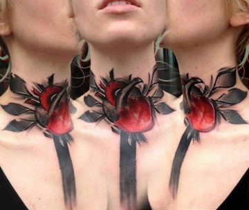 Heart Neck Tattoo