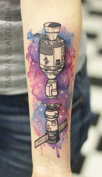 Watercolor Spaceship