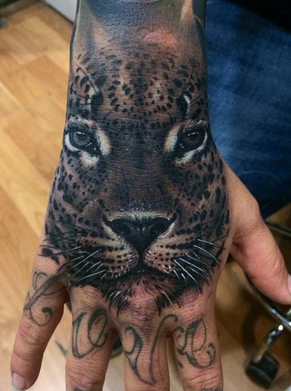 realistic leopard hand piece