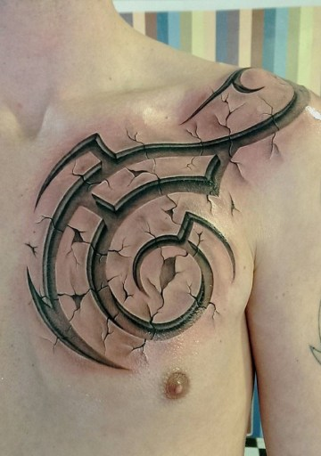 Tribal Chest Tattoo in 3D