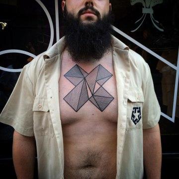Geometric Shapes Chest Tattoo