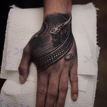 Vinyl Deck Hand Tattoo