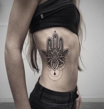Hamsa Side Tattoo