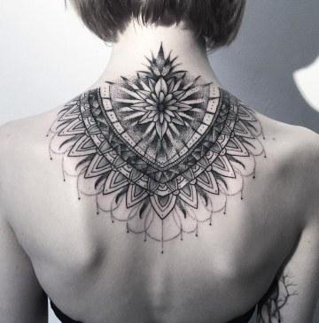 Dotwork Mandala on neck