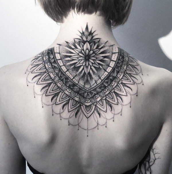 stunning neck mandala tattoo
