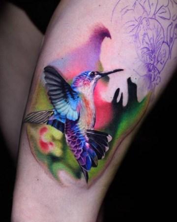 colorful hummingbird tattoo