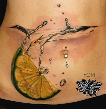 Cocktail Belly Tattoo