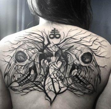 Goat Skulls back tattoo