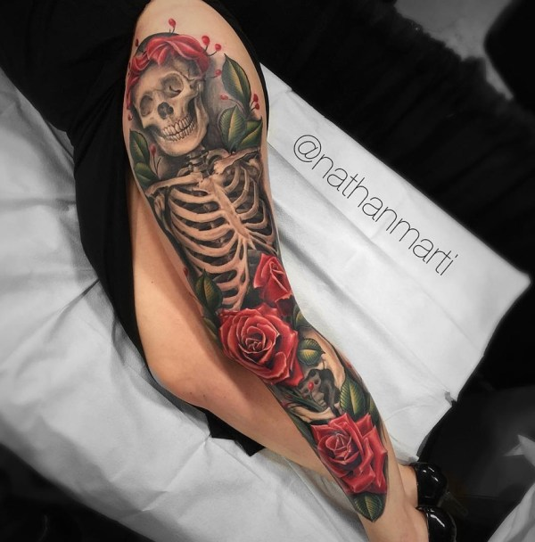 skeleton & roses leg sleeve
