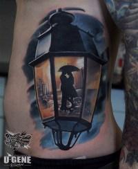 Street Lamp Lovers Silhouette | Best tattoo design ideas
