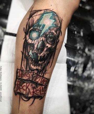 Skull & Long Live Rock 'N Roll sign