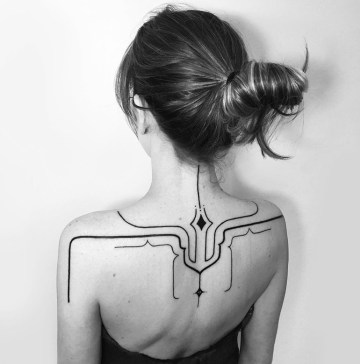 Freehand Lines Back Tattoo