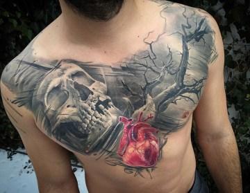 Realistic Heart Chest Tattoo