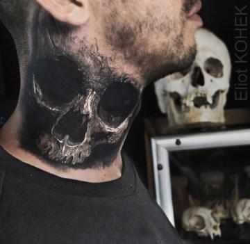 Skull neck tattoo realistic 3D style