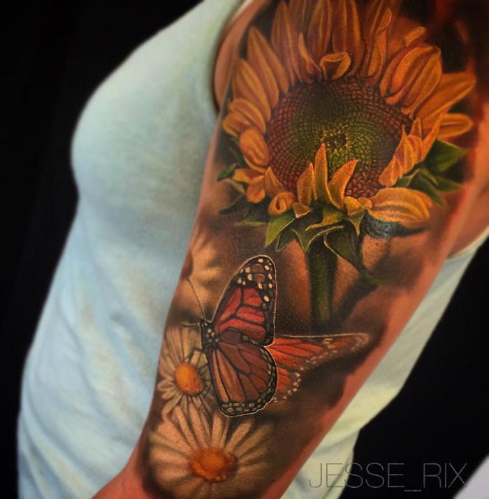 Sunflower Tattoo Half Sleeve Ideas