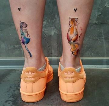 Cat Vs Cat Leg Tattoos