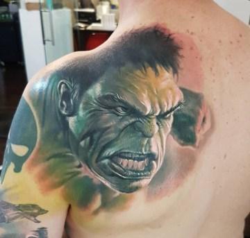 Incredible Hulk Back Tattoo