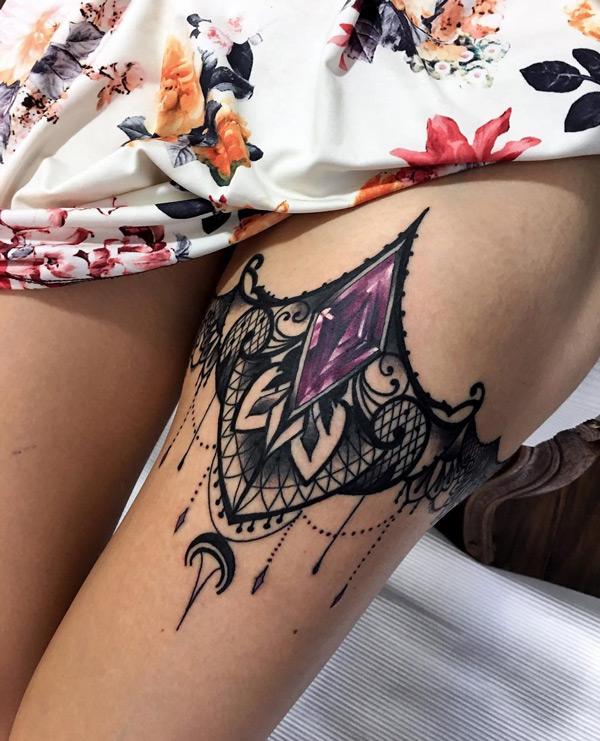 Mandala Garter Tattoo : mandala, garter, tattoo, Black, Garter, Amethyst, Stone
