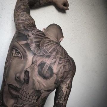 Skull & Portrait Mens Back Tattoo