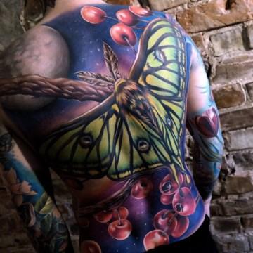 Moth Back Tattoo
