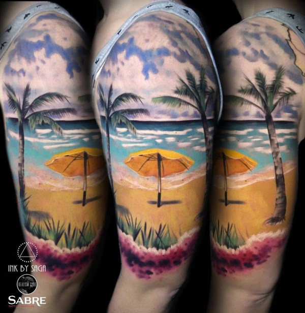 Half Sleeve Tattoos Beach