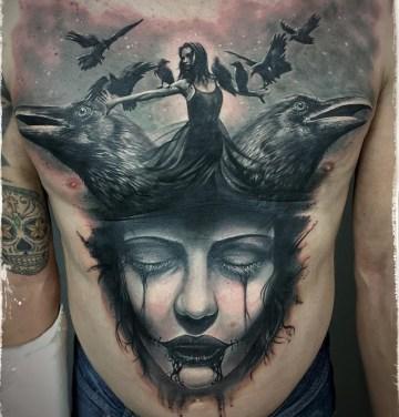 Ravens & Portrait Chest Tattoo