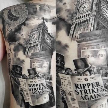 Jack the Ripper back tattoo