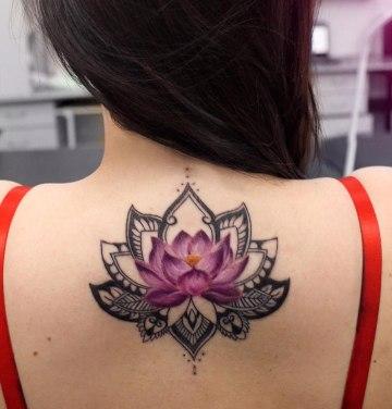 Lotus Flower & Mandala Back Tattoo