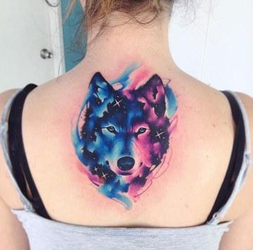 Wolf Galaxy Girls Back Tattoo