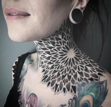 Girl's mandala ornamental neck tattoo