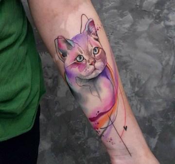 Watercolor Cat Arm Tattoo