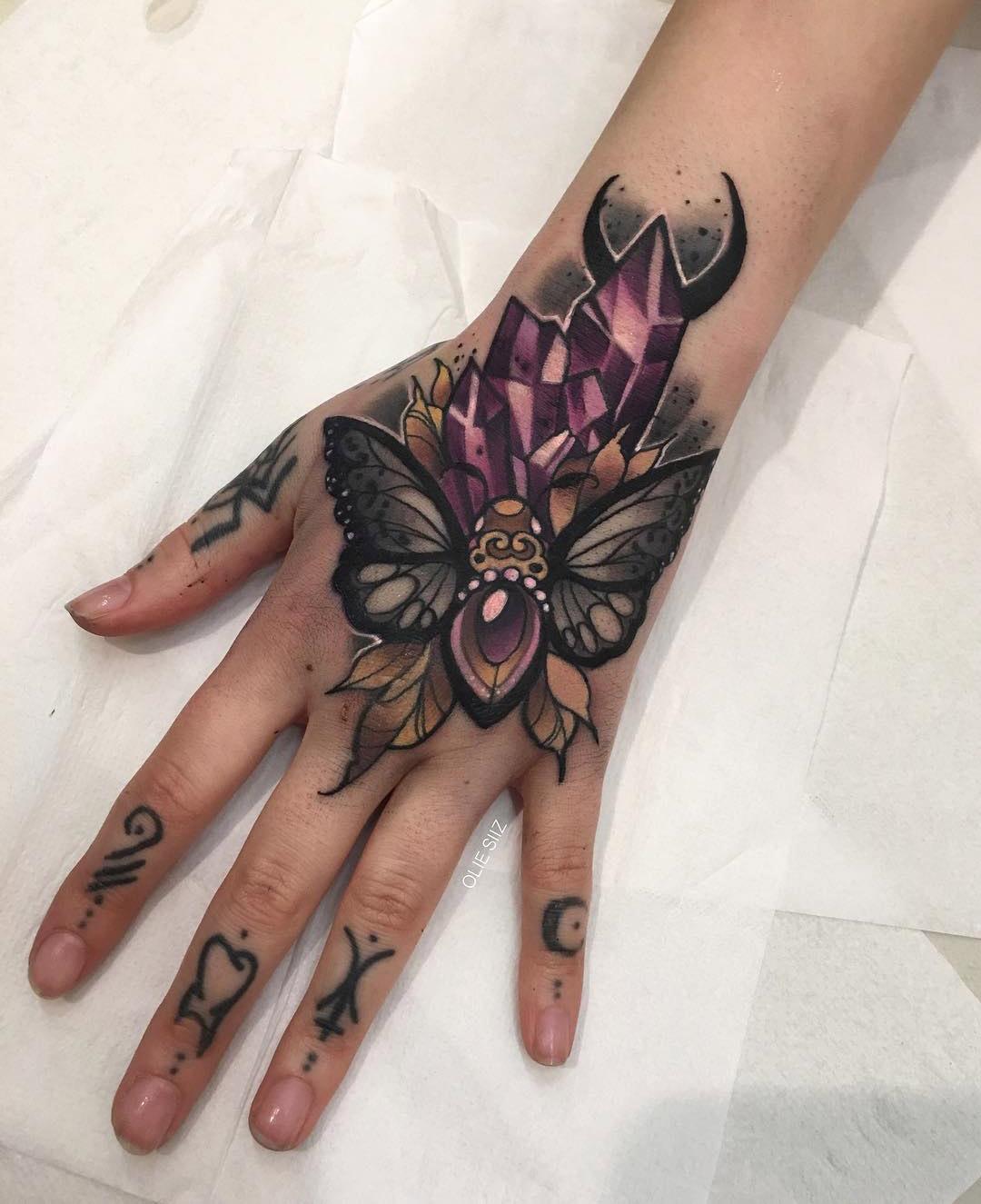 Moth & Crystals, Girls Hand Tattoo  Best Tattoo Design Ideas
