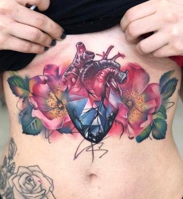 Crystal Heart & Flowers Underboob Tattoo