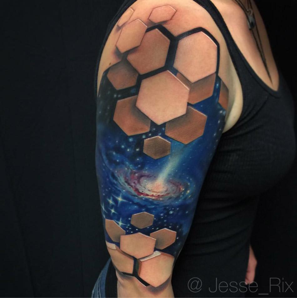 Galaxy Tatoo With 3d Hexagons Best Tattoo Design Ideas