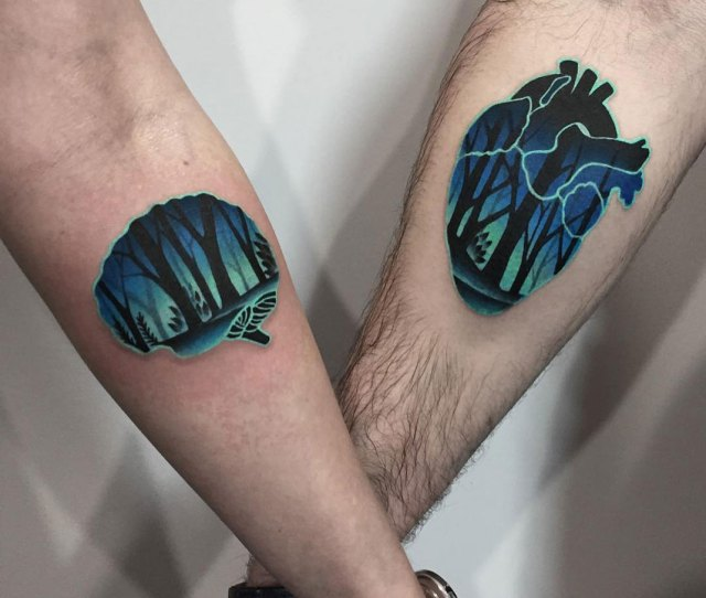 Heart Brain Couple Tattoos