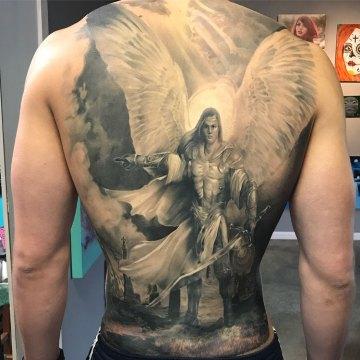 Archangel Michael back tattoo