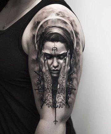 Guardian Angel, girl's arm tattoo